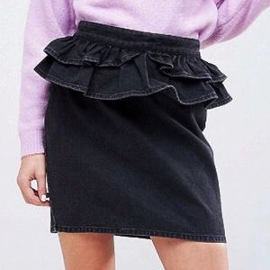 NEW, ASOS denim skirt in washed black with peplum